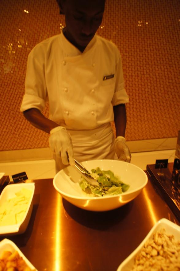 Chef serves