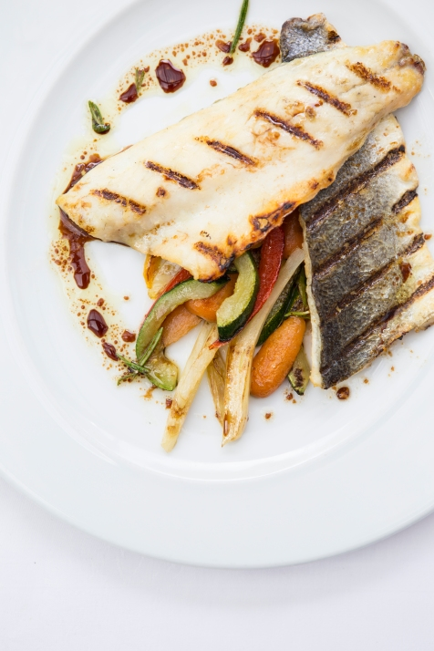 Branzino con Verdure e Salmoriglio grilled seabass with vegetables & balsamic-herb dressing gf £14.5 (1)