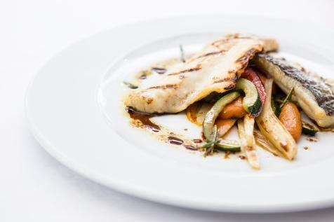 Branzino con Verdure e Salmoriglio grilled seabass with vegetables & balsamic-herb dressing gf £14.5 (2)