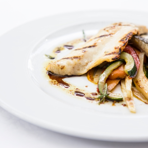 Branzino con Verdure e Salmoriglio grilled seabass with vegetables & balsamic-herb dressing gf £14.5 (2)