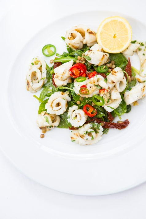 Calamari ai Ferri grilled calamari in garlic & chilli with lentils & sundried tomato salad gf £12 (2)