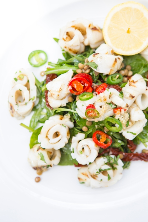 Calamari ai Ferri grilled calamari in garlic & chilli with lentils & sundried tomato salad gf £12 (3)