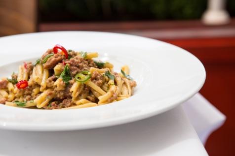 Casarecce Con Ragu Di Salsiccia Piccante twisted pasta with a spicy tuscan sausage ragu £10 (1)