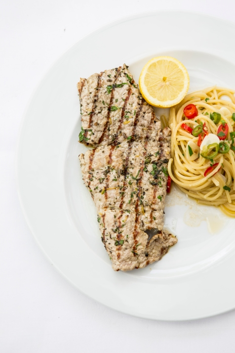 Grilled Veal with Spaghetti, Garlic Olive Oil and Chilli £16.5 (2)