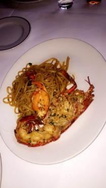 Whole Grilled Fresh Lobster, served with arrabiatta sauce & chips £29.5 (2)
