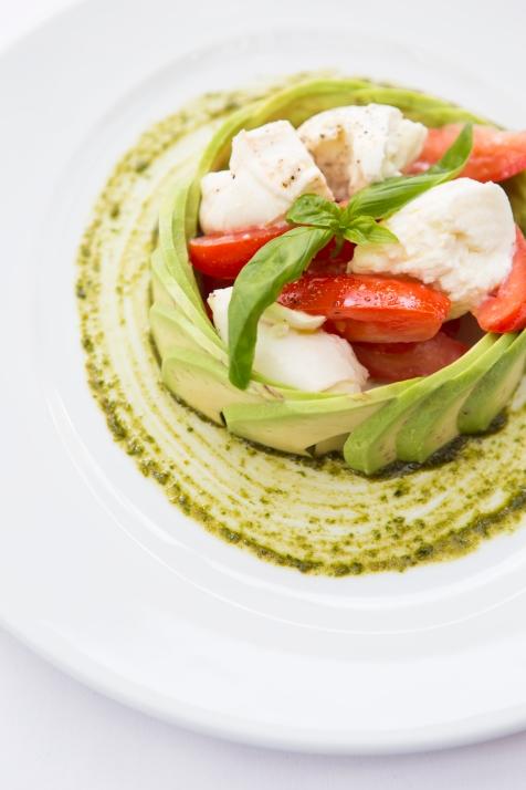 Insalata Tricolore mozzarella, plum tomato & avocado salad based with pesto sauce (v) (n) gf £7.5 (1)