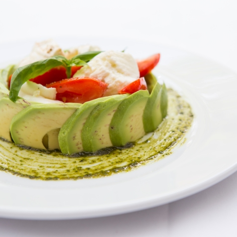 Insalata Tricolore mozzarella, plum tomato & avocado salad based with pesto sauce (v) (n) gf £7.5 (2)