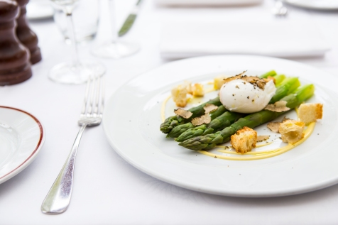 Norfolk Asparagus with Poached Egg, and Black Truffle Shavings £9 (1)