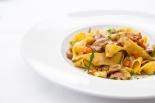 Pappardelle Con Stracetti di Vitello egg pasta, veal strips, fontina cheese & rosemary sauce £11.5 (1)