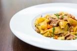 Pappardelle Con Stracetti di Vitello egg pasta, veal strips, fontina cheese & rosemary sauce £11.5 (2)