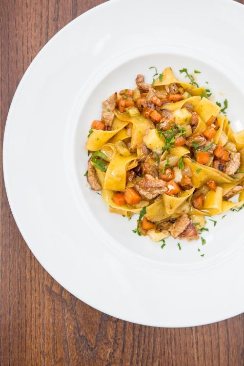 Pappardelle Con Stracetti di Vitello egg pasta, veal strips, fontina cheese & rosemary sauce £11.5 (3)