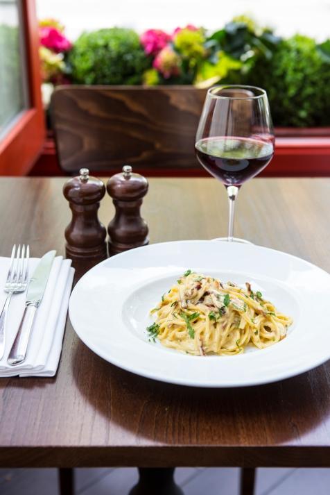 Spaghetti Carbonara egg yolk, pancetta, cream & parmesan cheese sauce £9.5 (2)