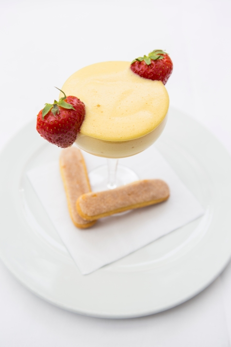 Zabaglione - a light dessert of whipped sugar & eggs flavoured with Marsala, traditionally whisked by hand in a copper bowl £4.5 (1)