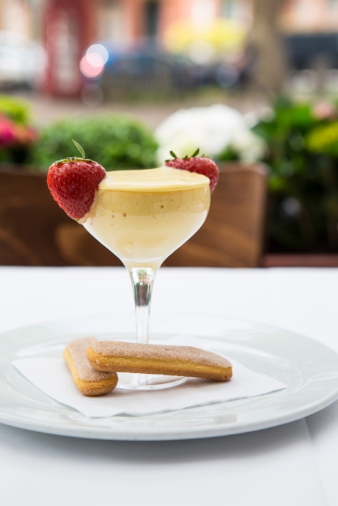 Zabaglione - a light dessert of whipped sugar & eggs flavoured with Marsala, traditionally whisked by hand in a copper bowl £4.5 (2)