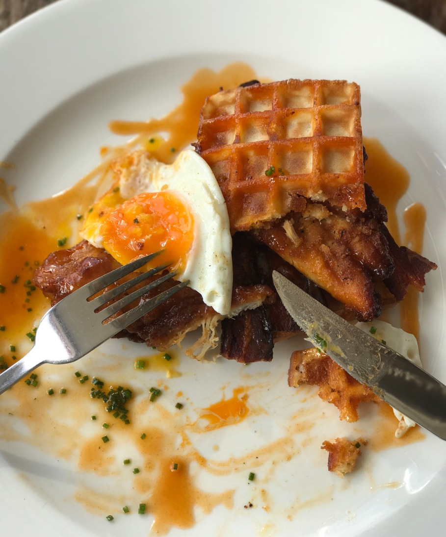 Eggs and waffles at the Jam Tree
