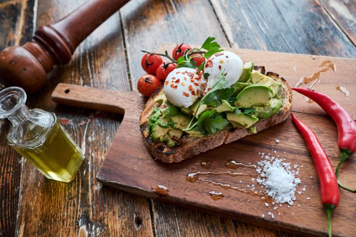 Avocado eggs on toast at the Jam Tree